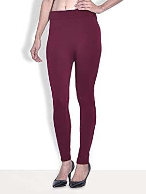 GOLDEN GIRL Women Woolen Warm Leggings with Thick Fur Lined (091105_Maroon)