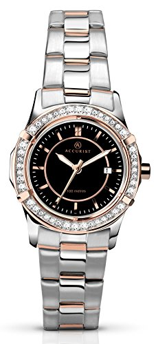 Accurist Women's Quartz Watch with Black Dial Analogue Display and Two Tone Stainless Steel Bracelet Rose Gold Plated Bracelet 8072.01