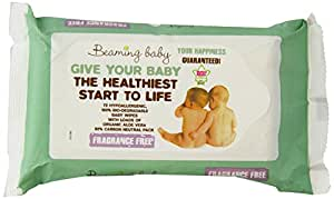 Beaming Baby Organic Fragrance Free Baby Wipes - Pack of 72 Baby Wipes