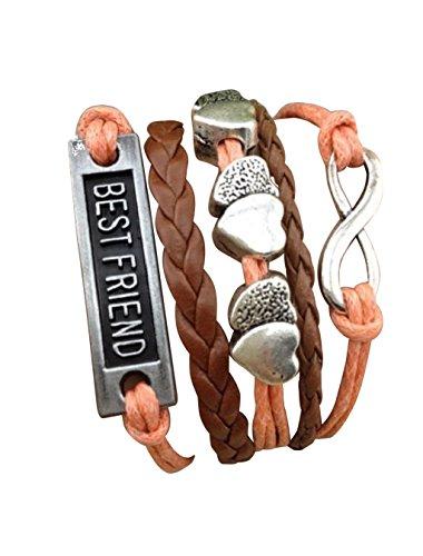 Imagen de strass & paillettes pulsera best friend corazón de salmón rosa e infinite link plateado. regalo para su amiga