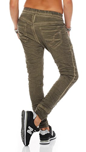 SKUTARI - Femme Pantalon Bouffant Drop Crotch Slacks Grün 3
