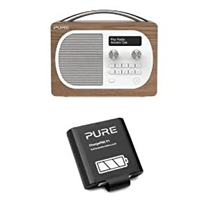 Pure Evoke D4 (Oak) Portable DAB/FM Radio with ChargePAK F1 Rechargeable Battery Pack Bundle