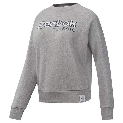 Reebok Damen Classics Activchill Iconic Sweatshirt Langärmelig, Medium Grey Heather/Collegiate Navy, XXS -