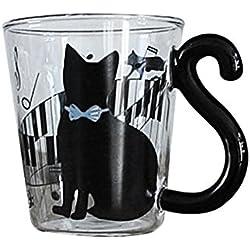 Cute creativo gato Kitty cristal taza taza taza de té taza de leche taza de café azul