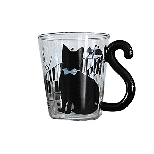 Preciosa taza creativa de gatito y piano azul. Taza de cristal