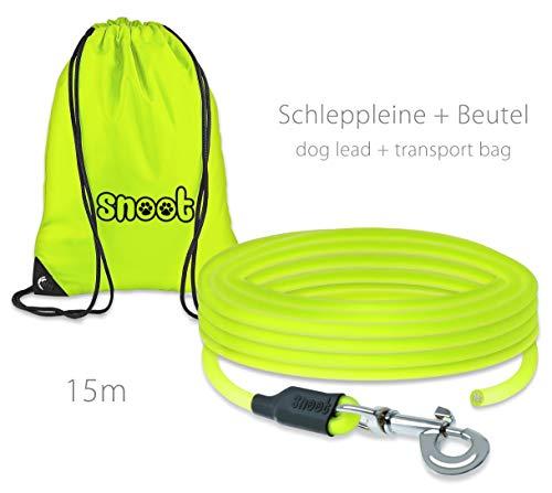 SNOOT Schleppleine 15m / Rundleine - 8mm runde, zugfeste, schmutz- und Wasserabweisende Hundeleine mit Einem Karabiner
