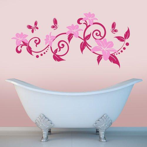 Swirly Ast mit Blumen und Schmetterlinge–Wandtattoo Aufkleber Wohnzimmer Schlafzimmer (mittel) (Swirly Mädchen)