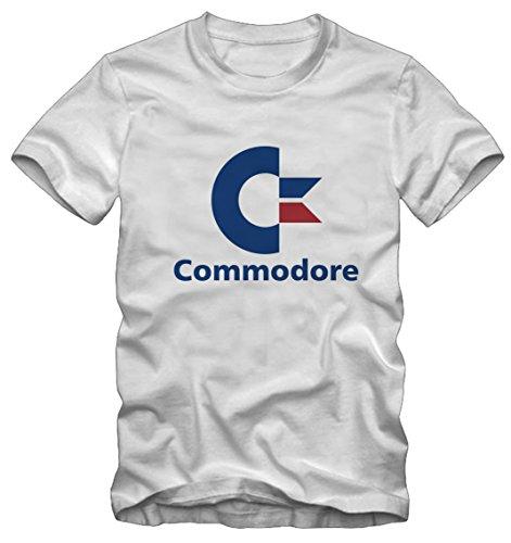 T-Shirt Commodore 64 Vintage (S Uomo, Bianco)