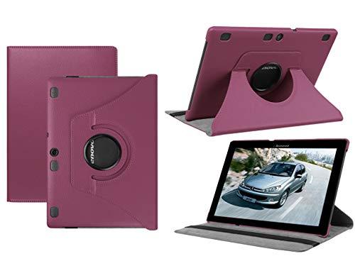 HereMore Lenovo TB-X103F/Tab 2 A10-30/Tab 2 A10-70 Hülle, 360 Grad Rotierend Schutzhülle Tasche für Lenovo Tab 3 10 Plus/Tab 3 10 Business 10,1 Zoll Tablet, Lila (mit Auto Schlaf/Wach Funktion)