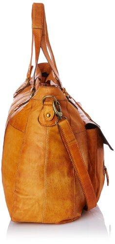 PIECES TOTALLY ROYAL LEATHER TRAVEL BAG13, Borsa a spalla donna Marrone (Braun (Cognac 18-1421 TCX))