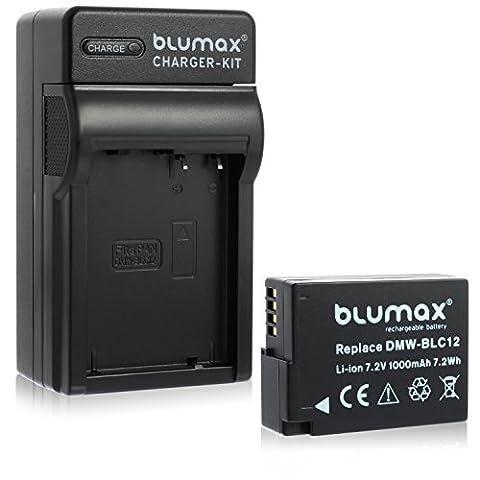 Blumax Akku für Panasonic DMW-BLC12 / DMW-BLC12-E 1000mAh + Ladegerät DMW-BLC12   passend zu Lumix DMC: G5   G6   GX8   G70   G81   GH2   FZ200   FZ300   FZ1000   FZ2000   Leica V-Lux 4