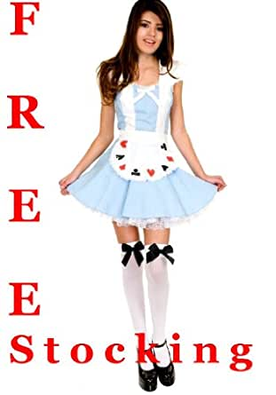 Forever Young Alice in Wonderland Ladies Fancy Dress Costume + FREE STOCKING! (UK 10)