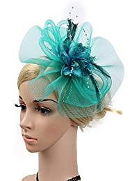 Sumferkyh Donna Elegante Fascinator Cappello da Sposa Piuma Accessori per  Capelli Cocktail Royal Ascot Cappello Cocktail be8120205acd
