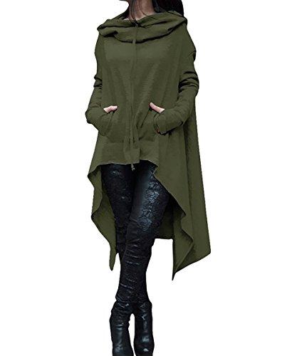 BienBien Pullover Lungo Donna Felpa Cappuccio Collo Alto Oversize Sweatshirt Maniche Lunghe Vestito Felpe Tumblr Ragazza Invernali Casual Hoodies Maglietta Jumper Tops Verde