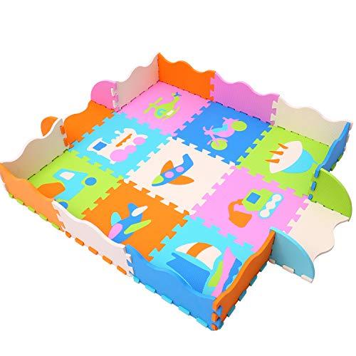 qqpp Tappeto Puzzle con Certificato CE in soffice Schiuma Eva | Tappeto da Gioco per Bambini | Tappetino Puzzle (Vehicles)