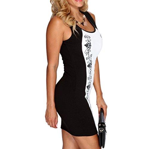 Waooh - Kurzes Kleid Barock Gedruckt Tife Weiß-Schwarz