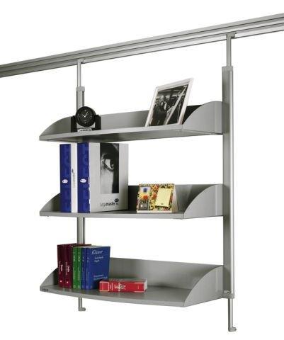 Legamaster 7-325200 Bücherregal für Legaline Dynamic Wandschienensystem, 3 verstellbare Böden, eloxiertes Aluminium (Bücherregal Verstellbares)
