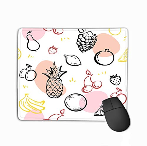 Mouse Pad Doodle Fruits Isolated White Blackboard Healthy Nutrition Sketch Pineapple Strawberries Hipster Rectangle Rubber Mousepad 11.81 X 9.84 inch