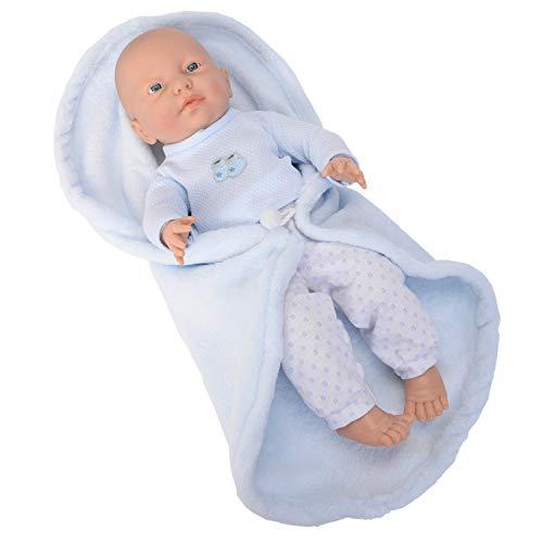 Falca RN New Born Baby NIÑO Manta Cambiador. Muñeco de Vinilo Cuerpo Blando y Muy Realista.