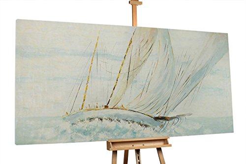 'Ship Tale' 200x100cm | Segelschiff Meer Blau Weiß Urlaub Modern | Modernes Kunst Ölbild