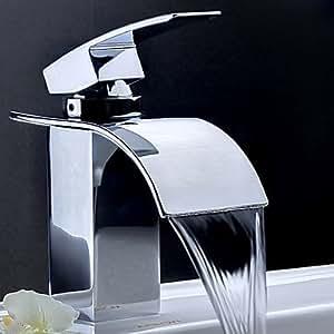Einhand-Chrom-Wasserfall Waschbecken Wasserhahn (0599-qh0517)
