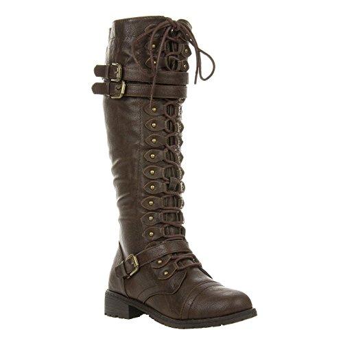 Fourever Funky Damen-Vegan-Dreifach Schnalle Spitze bis Knie Hohe Stiefel, Braun - Braun - Größe: 38 EU (M) (Stiefel Spitze Knie Plattform)