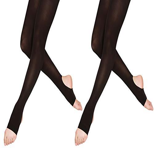 DANCEYOU Schwarze Tanzstrumpfhosen 2 Paar Ballettstrumpfhose Stützstrumpfhose Legging ohne Fuß/mit Steigbügel für Mädchen Kinder und Damen ohne Fuß 70DEN Steigbügel M