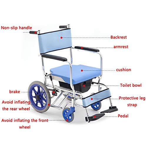 HEUFHU888 Sedia a rotelle per Il Bagno - Sedia da Bagno per Anziani Sedia a rotelle Pieghevole in Alluminio (Colore : Blu)