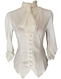 White Ivory Steampunk Gothic Victorian Pirate Cravat Ruffle Vamp Button Blouse Top