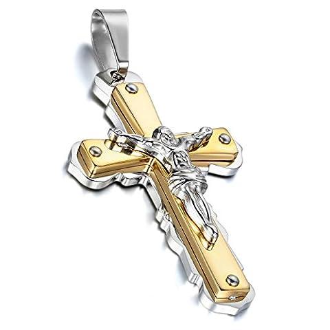 cupimatch Antik Edelstahl Silber Zwei Ton Religiöse Jesus Christus Kruzifix Kreuz Anhänger Halskette für Herren mit 55,9cm Kette
