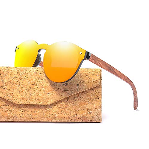 Zbertx Randlose runde Holz-Sonnenbrille für Frauen und Männer Polarized Sun Glass,Orange