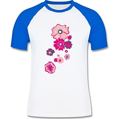 Blumen & Pflanzen - Blumen - zweifarbiges Baseballshirt für Männer Weiß/Royalblau