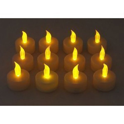 Romote 12 Pcs LED flackernden Kerzenflammen lose Tee Licht Batterie betrieben wie echte flackern Kerzen Hochzeit lang anhaltend (warmes Weiß)