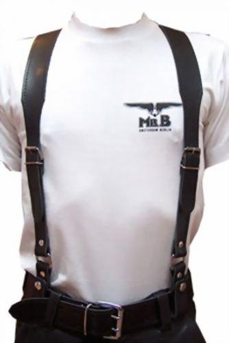 """Preisvergleich Produktbild Leder Hosenträger Black von """"Mr. B"""" Größe X Large"""