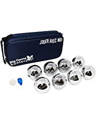 Big Game Hunters 8 Boules Set with Rust-Free Protection and Luxury Canvas Carry Bag – Durable 8 Petanque Set Polished and Engraved Official Size Bowls