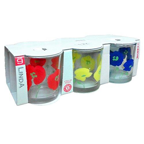 Packung von 6Gläser 25cl Wasser Küche Bar Cocktail Aperitif-Cerve Linda Dekor Blumen