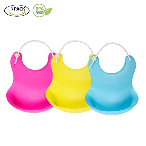Turkha Bibs for Girls 3 Pack - Food Grade Silicon - Waterproof with Food Catcher - Easy Clean - Dishwasher Safe - Cute Designs for Your Baby Girl