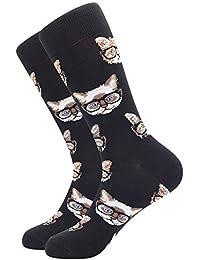 BONANGEL Calcetines de Algodón Peinado para Hombre, Calcetines Estampados Hombre, Hombres Ocasionales Calcetines Divertidos Impresos de Algodón, Calcetines de Moda de Negocios
