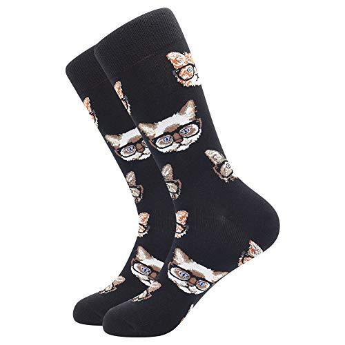 BONANGEL Calcetines Estampados Hombre, Hombres Ocasionales Calcetines Divertidos Impresos de Algodón de Pintura Famosa de Arte Calcetines, Calcetines de Colores de moda (1 Pare-Cat)