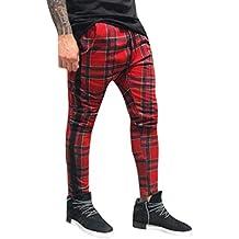 89246bea18 Ansenesna Pantalones Chinos Deportivos Largos Casuales Pantalones Slim Fit  A Cuadros Pantalones De CháNdal para Correr