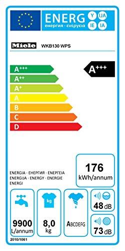 Miele WKB130WPS D LW Waschmaschine FL / A+++ / 176 kWh / Jahr / 1600 UpM / 8 kg / 9900 L / Jahr / Thermo-Schontrommel / Capdosing / lotosweiß - 2