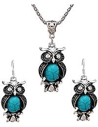 Juego de joyas de pendiente de buho - SODIAL(R) Juego de joyas de diseno nuevo Juego de aretes de gota de buho collar de pendiente de turquesa retro Joya para mujer (Verde)