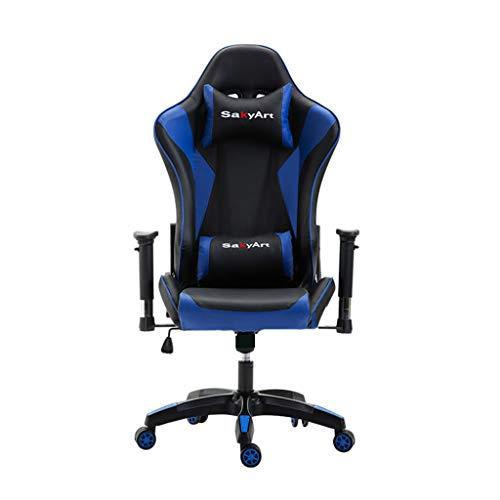 WQ-Deckchairs Gaming Stuhl Racing Style High-Back PU Leder Bürostuhl Computer Schreibtisch Stuhl Executive und ergonomischen Stil Drehstuhl mit Kopfstütze und Lordosenstütze (Blau) -