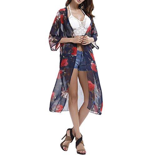 iBaste Donne Abito con motivo floreale Abito lungo con bikini Camicia con chiusura a bottoncino Abiti estivi Vestito da maglia estiva con poncho da spiaggia Blu