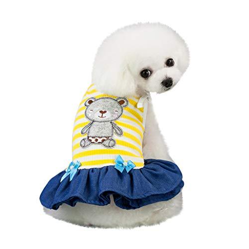 Xmiral abiti cani taglia grande abiti cani piccoli abiti cani cotone abiti cani estivi cani vestiti eleganti cani vestiti maschio vestiti cuccioli cani vestiti carnevale xs giallo