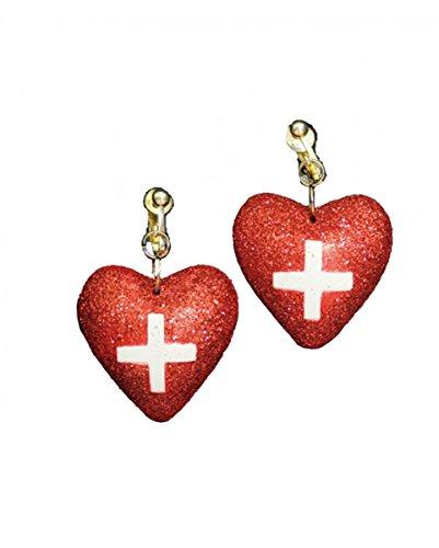 Horror-Shop Rote Glitzer-Herzen Krankenschwester ()