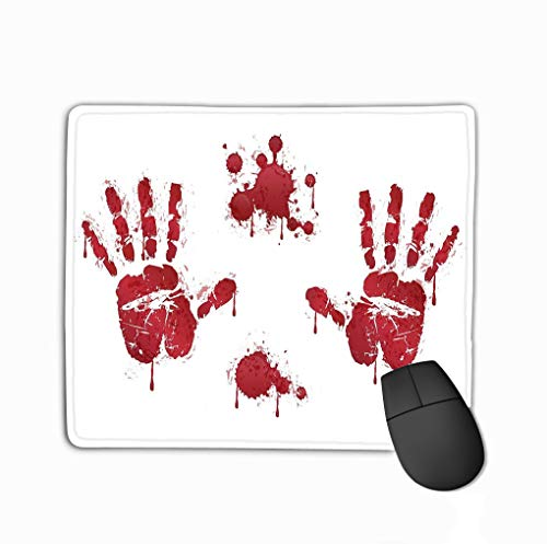Mouse pad bloody red horror handprints blood drops spooky design elements design halloween decoration steelseries keyboard