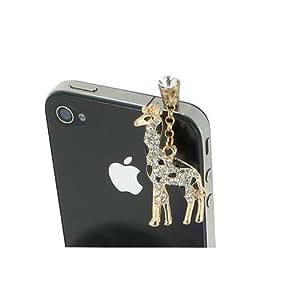 Bijoux de telephone portable GIRAFE STRASS [SAMSUNG APPLE IPHONE NOKIA MICROSOFTLUMIA HTC ONE SONY XPERIA] - Noir