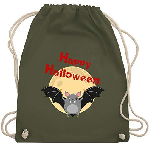 Halloween - Happy Halloween Fledermaus - Unisize - Olivgrün - WM110 - Turnbeutel & Gym ()