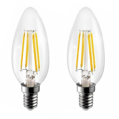 E14 4W Nicht Dimmbar Filament LED Lampe,C35 LED Kerzenform Classic Glühfaden Fadenlampe,C35 LED Kerzen Lampe,Warmweiß 2700K